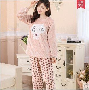MH-RITA Engrosamiento mujer invierno polar coral femenino pijamas de franela pajama establece dormir terciopelo