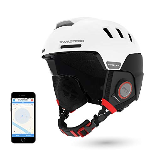 Swagtron Snowtide Bluetooth Ski & Snowboard Helmet with Audio, SOS Alert, Walkie-Talkie/Push-to-Talk (Unlimited Range) & More (White)