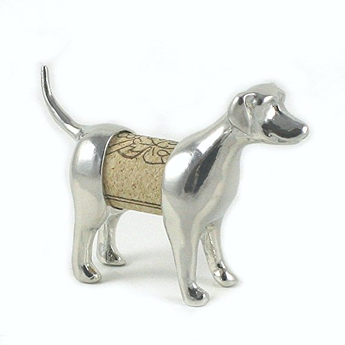 Lab Sculpture Displays Your Wine Cork - Handcrafted Pewter Made in USA - Wine and Pet Lover Gift