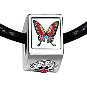 Chicforest Silver Plated Beautiful Lovely Butterfly Photo Red Zircon Crystal July Birthstone Flower Charm Beads Fits Pandora Charms