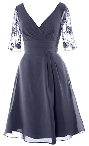 MACloth Women Half Sleeves V Neck Cocktail Dress Short Mother of the Bride Dress Steel Blue