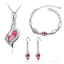 Lopkey Platinum-plated Fashion Jewelry Set with Imported Crystal Element Rose