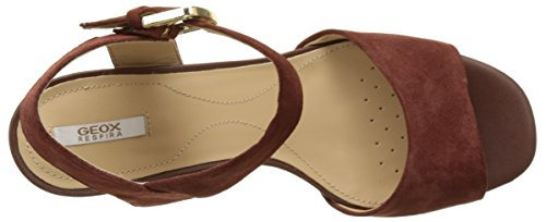 Geox D MARILYSE B, Sandalias con Cuña Para Mujer Marrón (CIGARC6007)