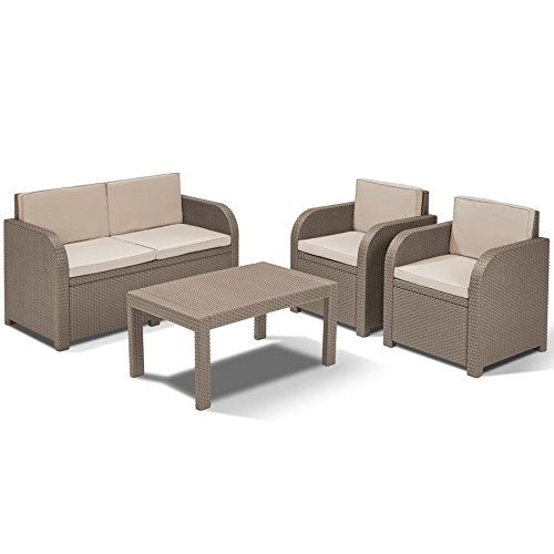 allibert lounge gruppe mississippi cappuccino rattan gartenm bel balkonm bel g nstig kaufen. Black Bedroom Furniture Sets. Home Design Ideas