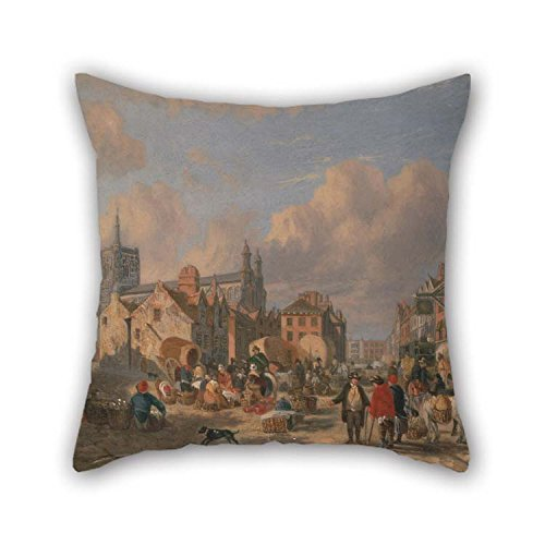 TonyLegner Oil Painting David Hodgson - The Haymarket, Norwich Cushion Cases 18 X 18 Inches / 45 by 45 cm for Dinning Room Bar Living Room Kids Bar Birthday with Twin Sides]()