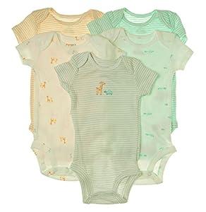 Carters Girls 5-Pack Short-Sleeve Safari Bodysuit - Ivory