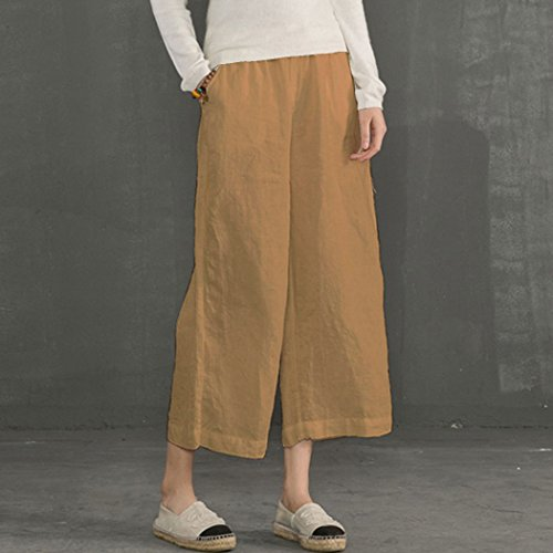 Pantalon Taille Casual Jaune Ecupper Femme Raccourci Large Plus Ample Bas De Trousers F6nwgxd
