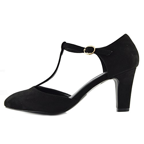 Kick Footwear - Womens Block Heeled Office Formal Work Dolly Strap Black Shoes Black Suede 6s6bWVY8