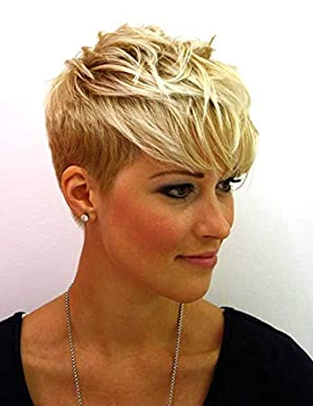 Amazon Com Naseily Short Blonde Wigs Natural Pixie Cut Hair Wigs For Women Short Hairstyles 2019 Cosplay Wig Blonde Hair Beauty
