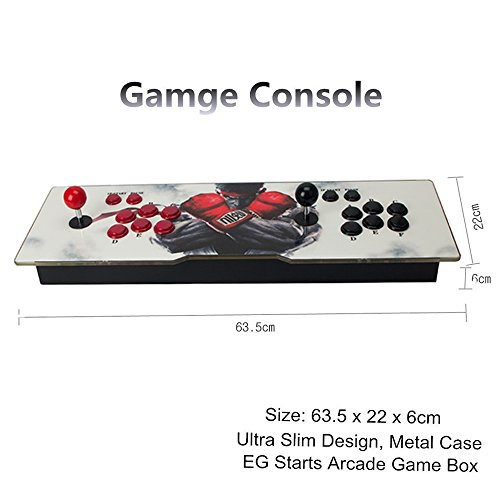 DODOING Ultra Slim Metal Double Joystick and Buttons Arcade Game Console - 2 Players Game Console 5S Plus 986 Classic Games Support Windows PC & TV VGA HDMI Output with Pause Function by DODOING (Image #4)