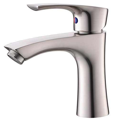 Lever Handle Faucet Lavatory (KINGO HOME Contemporary Stainless Steel Single Hole Lavatory Single Handle Brushed Nickel Bathroom Faucet, Hot and Cold Water Vanity Faucets)