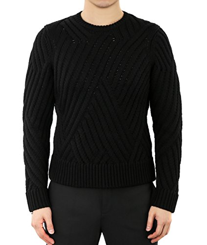 wiberlux-neil-barrett-mens-weave-knit-pattern-round-neck-sweater-s-black