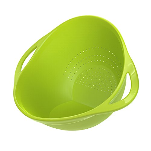 Nuovoware Kitchen Strainer, Plastic Colander Rice Washer Vegetable Fruit Washing Bowls with Handles for Cleaning Pasta - ()