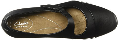 Clarks Wren Rosalyn Pompe Leather Black p8qP7pTU