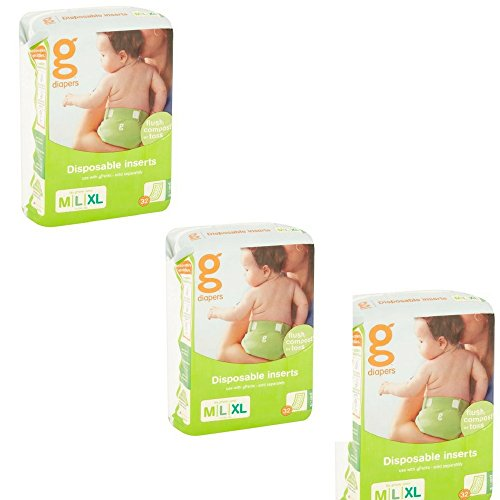 gDiapers Disposable Inserts - Medium/Large (32 count -3 Pack) by gDiapers