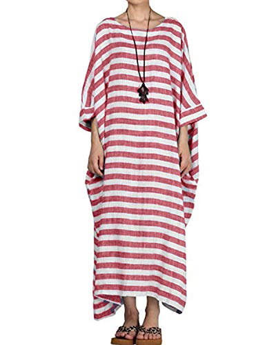 Celmia Women's 3/4 Sleeve Round Neck Solid Loose Long Maxi Dress Cotton Gown with Side Pockets Red 4XL