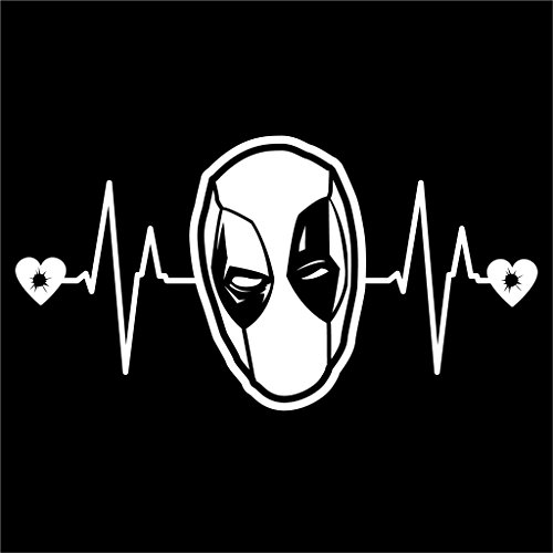 [Deadpool Heartbeat Vinyl Decal Sticker | Cars Trucks Vans Walls Laptops Cups | White | 7.5 X 4 Inch | KCD1191] (Deadpool Costume Variants)