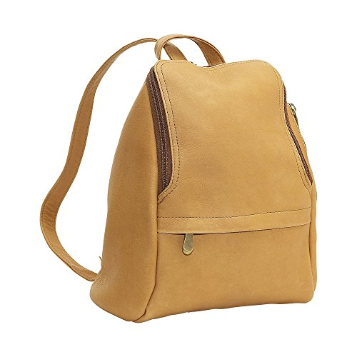 LeDonne Women's Leather U-Zip Mini Back Pack, Tan