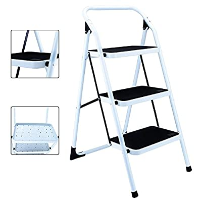 KingYuan Portable Space Saving 3 Step Ladder Platform Folding Heavy Duty Step Stool Lightweight 330 lbs Capacity