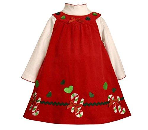 Bonnie Jean Baby Girls Candy Cane Border Corduroy Jumper Dress, Red, 3/6M