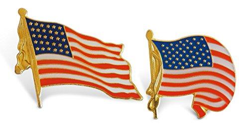 2-Piece Wavy American Flag & Tassel Patriotic Lapel Pins Hat Pin & Tie Tack Set with Clutch Back by Novel Merk