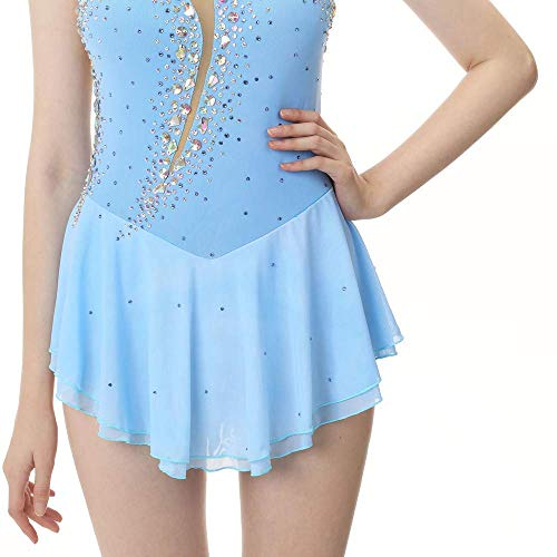 Con Hecho Leotardos Mano Niñas Claro Competición Hielo Vestido Sin Mangas Traje Para Artístico Azul Y A Sobre Patinaje Mujeres Cristales De xwf1PU6