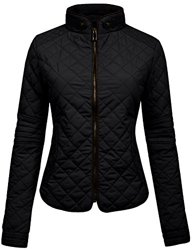 NE PEOPLE Womens Lightweight Quilted Zip Jacket, Large, NEWJ22BLACK