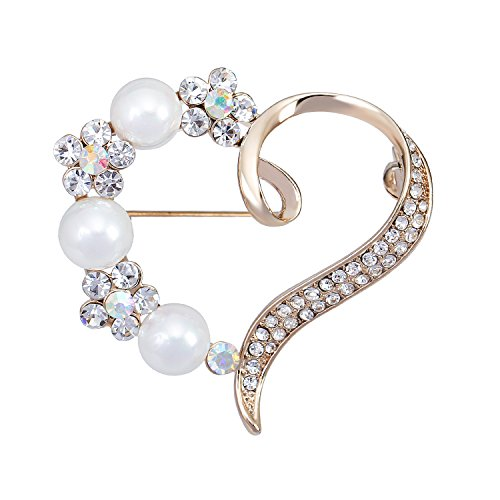 sourjas Love Jewelry Gold-Tone Crystal Simulated Pearl Flower Heart Brooches Bridal Women Pin Mother's Gifts