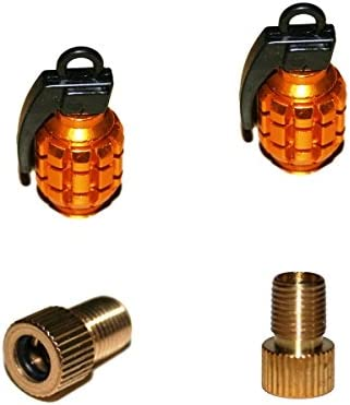 KUSTOM66 2er Set Ventilkappen und 2 Fahrrad Adapter in Gold f/ür jedes Fahrrad geeignet Handgranate