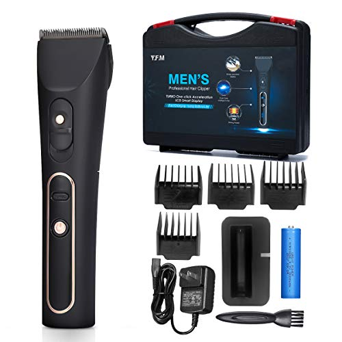 Electric Hair Clipper Kit Y.F.M. Professional Cordless Hair Trimmer Beard Shaver Adjustable Shaving Speed Ceramic Blade LCD Display Rechargeable Battery with Replaceable 4 Limit Combs