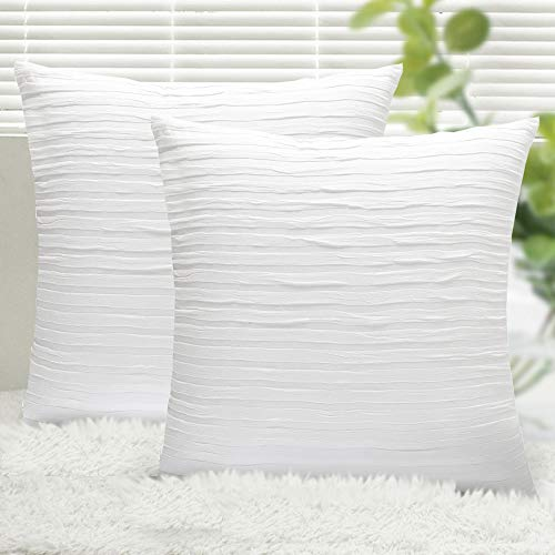 Yeadous Pure White Throw Pillow Covers Case, 2 Pack Line Striped 100% Cotton Cushion Cover, Soft Decorative Pillow Shams Covers for Sofa Couch Bed Home Decor(20x20 Inches, Pure White) (Bed White Cushion)