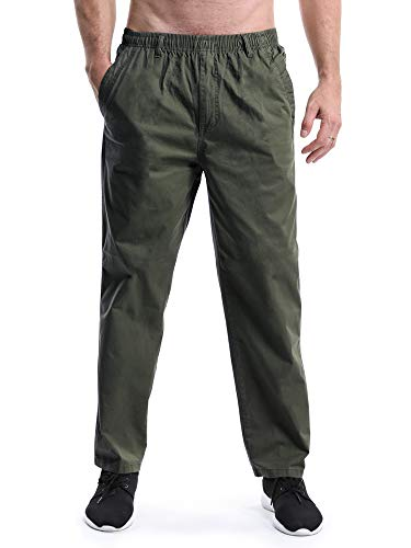 OCHENTA Men's Full Elastic Waist Lightweight Workwear Pull On Cargo Pants #04 Army Green Tag 4XL - US 40