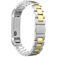 Fitbit Alta HR and Alta Bands, MoKo Universal Stainless Steel Watch Band Strap Bracelet with Spring Pin for for Fitbit Alta / Fitbit Alta HR - SILVER & GOLD