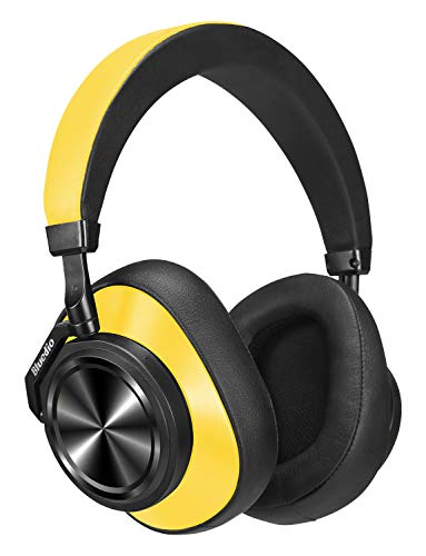 Bluedio T6 (Turbine) Active Noise Canceling Headphones Voice Control, Bluetooth Headphones Over Ear Support Amazon Web Services (AWS), Wireless Headset w/Mic, 57 mm Drivers, 25 Hours Playtime, Yellow