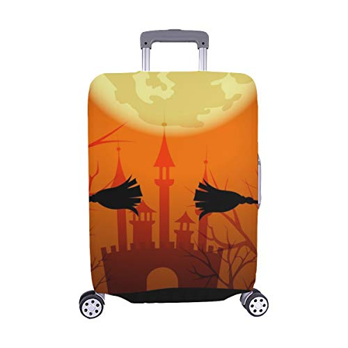 Halloween Silhouettes Witches Lettering Happy Spandex Trolley Case Travel Luggage Protector Suitcase Cover 28.5 X 20.5 Inch