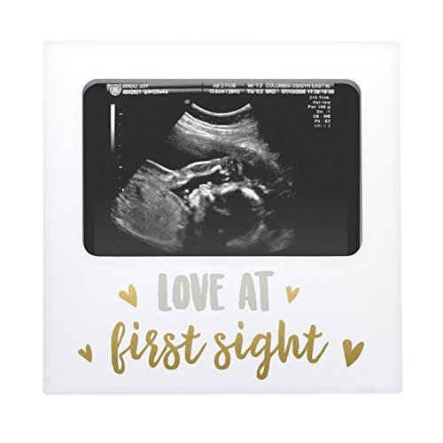 (Tiny Ideas Sonogram Keepsake Photo Frame, Love at First Sight, New Mom Gift Ideas, White)
