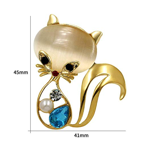 JINDUOQ Blue Crystal and Resin Cute Cat Brooches in Gold Color Plated