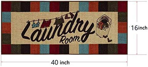 Flytime Novelty Bear Laundry Room Floor Rug Nonslip Waterproof Rubber Mat Vintage Decorative Runner Rug 16 X 40 Inche