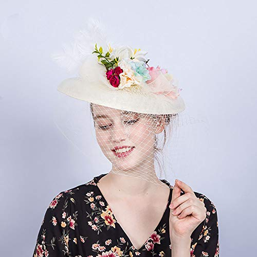 NQN Women's Fascinators Hat, Kentucky Derby Hats with Feather Flower Veil, Pillbox Hat Cocktail/Tea/Wedding/Party/Horse Racing Hat,White