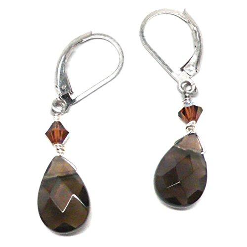 Created Smoky Quartz Briolette Lever Back Earrings Swarovski Crystal Sterling Silver (Crystal Smoky Quartz Earrings)