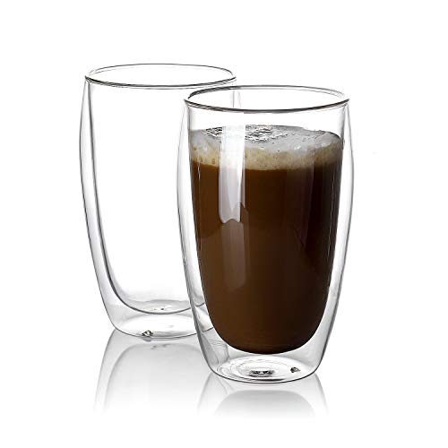 (Sweese 4615 Large Coffee Cups 15 oz - Double Wall Highball Glass,Drinking Glasses for Latte Cappuccino Espresso and Tea,Set of 2)