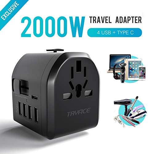 Travel Adapter,TryAce 2000W Universal Travel Power Adapter 8A with 4 USB & Type C Charging Ports,All in One AC Outlet Plug Wall Charger Adapter for Europe, UK, US, AU, Asia Covers 190+Countries