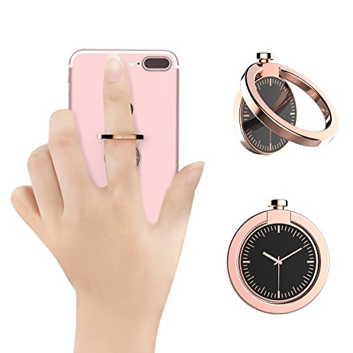 Ring Grip For Cell Phone, KOOSEN Watch Design Ring Grip Kickstand For Iphone 7 7 Plus 6S 6 5 5S, Galaxy Tablet,Fit For Magnetic Car Mount,Zinc Alloy 360°Finger Ring Holder For Phone (Rose Gold)