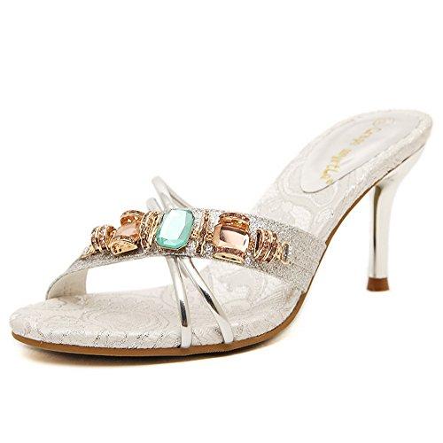 AdeeSu - Zapatillas de estar por casa para mujer plata