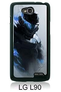 Halo Smoke Armor Soldier Helmet Black Personalized Photo Custom LG L90 Cover Case