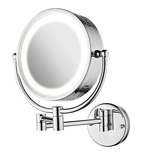 (moon moon 7-Inch LED Lighted Wall Mount Makeup Mirror with 3x Magnification,Double-Sided Lighted Makeup Mirror)