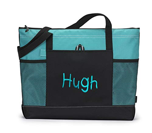 Personalized Tote Bag Monogrammed Beach Bags Premium Zippered with Mesh Pockets (Turquoise)