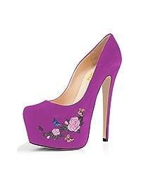 FSJ Women Pointed Toe Sky-high Pumps Slip-on Stiletto Heel Dress Shoes Size 4-15 US