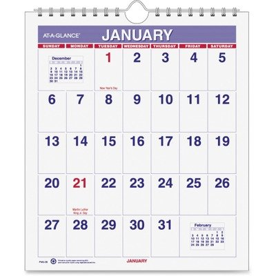 AT-A-GLANCE 2014 Mini Monthly Wall Calendar 6.5 x 7.5 Inches