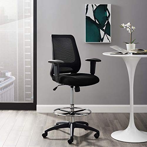 Modway Forge Mesh Adjustable Swivel Standing Desk Reception Drafting Chair in Black